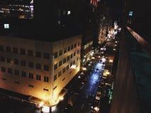 City Street at Night. Portland City Street seen from above stock photo