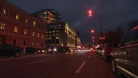 City Street Night Traffic Time Lapse with cars. City Street Night Traffic and Pedestrian Time Lapse with people, cars and buses stock footage