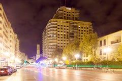 City street in night. Valencia. Spain Royalty Free Stock Photography