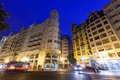 City street in night . Valencia, Spain Royalty Free Stock Photography