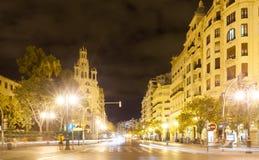 City street in night. Valencia, Spain. City street in night - Avenue del Marques de Sotelo. Valencia, Spain Royalty Free Stock Photo