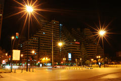 City street in night, Valencia, Spain Royalty Free Stock Photo