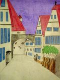 City street with old style houses and their red roofs and coloured pencil on graph. Children`s artwork Stock Photos