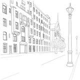 City street. Outline sketch of european city street Stock Image