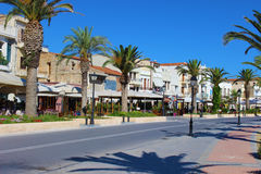 City street with palm trees. In the Greek town of Rethymnon Royalty Free Stock Photo