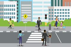 City street with pedestrian crossing and traffic lights vector illustration