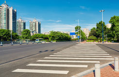 Pedestrian crossing zebra crosswalk city street. Pedestrian crossing of city road. Road sign of zebra crossing, crosswalk in city street royalty free stock photo
