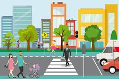 City street with pedestrians and road with transport vector illustration