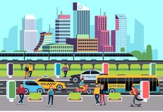 City street people and transport. Car bus bike motorcycle and persons. Transportation concept, city vector background royalty free illustration