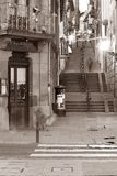 City street Plentzia. Night image of plentzia, a little village in the basque country Royalty Free Stock Photo