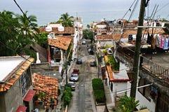 City street in Puerto Vallarta, Mexico. Street leading to Pacific ocean in Puerto Vallarta, Mexico Royalty Free Stock Image