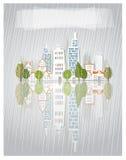 City street in the rain  illustration Stock Photos
