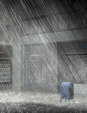 City Street Rain Storm Illustration. Illustration of a city street corner with a downpour rain storm. It's raining cats and dogs Stock Photos