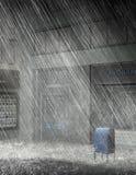 City Street Rain Storm Illustration Stock Photos