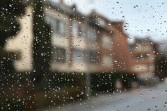 City street rainy day. Rainy and grey day in the city Stock Photo