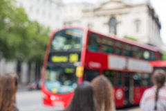 City street with red double decker bus in london Royalty Free Stock Photos
