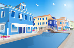 City street. Retro city street with water canal royalty free illustration