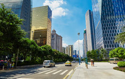 City street Guangzhou. Modern city street view in downtown. Asian Chinese modern cityscape, urban scenery in Guangzhou City, Guangdong (Canton) Province, China royalty free stock images