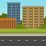 City street with road and city buildings, summer landscape, modern urban background vector illustration. Flat style Royalty Free Stock Photo