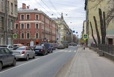 City street on the road going cars, people, buildings, architect. Ure, Saint-Petersburg, Russia Stock Images