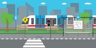 City street and road,modern train or subway stock illustration