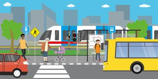 City street and road,public transport stop,different transportation. City street and road,public transport stop,different people go and stand,urban life concept stock illustration