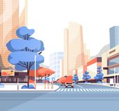 City street road skyscraper buildings view modern cityscape downtown flat. Vector illustration stock illustration