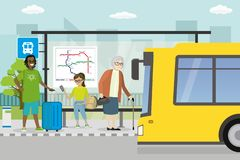 City street and road with transport,modern public transport stop royalty free illustration