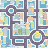City street seamless pattern. Public buildings and skyscrapers. Cute ornament houses and roads for childrens fabric. Large urban background. baby vehicle Stock Images