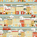 City street seamless winter background in flat Royalty Free Stock Photos