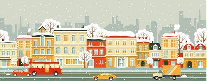 City street seamless winter background in flat Royalty Free Stock Photography