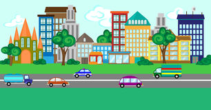 City street with a set of buildings and vehicles. Royalty Free Stock Photography