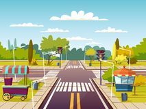 City street cartoon illustration of traffic lane crossroad with street food vendor carts on sidewalk royalty free illustration