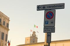 City street signs. Photo shows details of city street sign royalty free stock photography