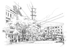 City street sketch. Sketch drawing of city street.Illustration Royalty Free Stock Images