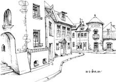 City street sketch Royalty Free Stock Image