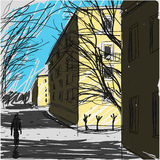 City Street Sketch Vector Royalty Free Stock Image