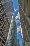 City street and sky scrapers in Chicago Stock Photo