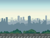 City street skyline. Urban landscape with road and skyscrapers. Cityscape view Stock Images
