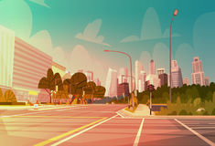 City Street Skyscraper Buildings Road View Modern Cityscape Empty Downtown. Flat Vector Illustration Royalty Free Stock Images