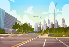 City Street Skyscraper Buildings Road View Modern Cityscape Empty Downtown. Flat Vector Illustration Stock Photography