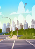 City Street Skyscraper Buildings Road View Modern Cityscape Empty Downtown. Flat Vector Illustration Stock Image