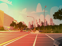 City Street Skyscraper Buildings Road View Modern Cityscape Singapore Downtown Royalty Free Stock Photo