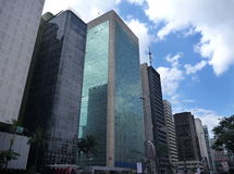 City street with skyscrapers in sao paulo Stock Image
