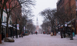 City street snow flurries Royalty Free Stock Image