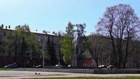 City street in spring morning stock video