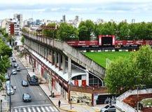 City street stadium view stock images