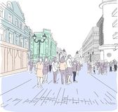 City street in the style of watercolor sketch. Royalty Free Stock Images