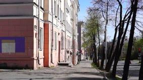 City street in summer morning stock footage