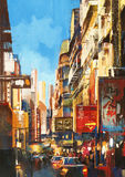 City street on sunny day. Colorful painting of city street on sunny day Royalty Free Stock Images